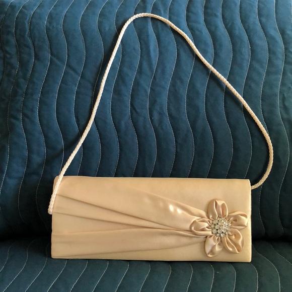Jessica McClintock Handbags - Cream Satin Evening Bag